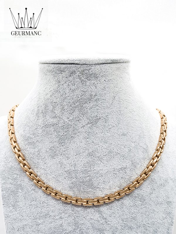 Lukas S rose gold – necklace <gemstone: 22 germanium + 23 rocky stone> (English)