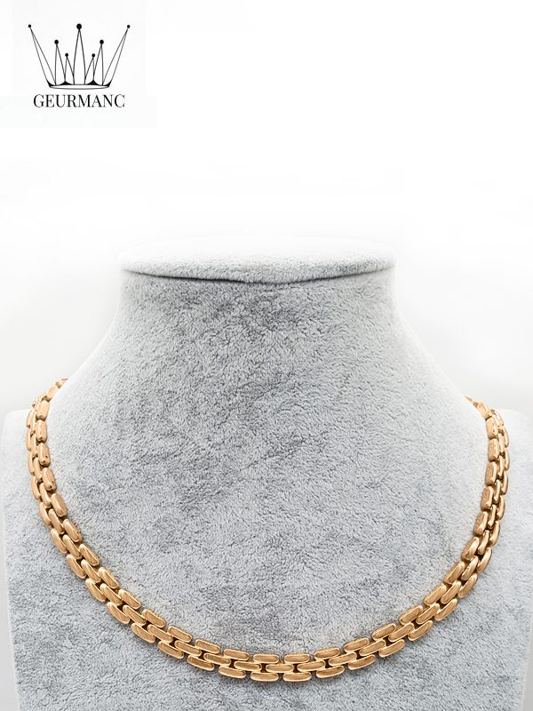 Lukas rose gold – necklace <gemstone: 22 germanium + 23 rocky stone> (English)